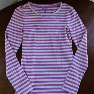 Old Navy Perfect Crew Long Sleeved Purple/Grey Tee